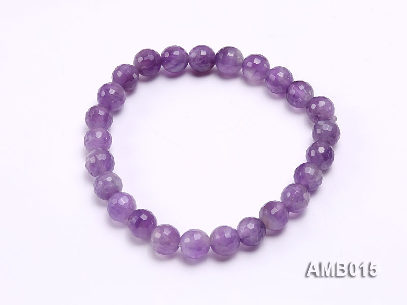 8mm Round Faceted Amethyst Beads Elastic Bracelet