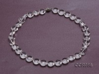 14x7mm Button-shaped Rock Crystal Beads Necklace