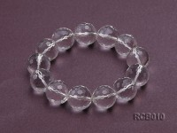 16.5mm Round Faceted Rock Crystal Beads Elasticated Bracelet
