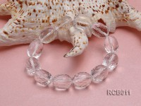 18x13mm Oval Faceted Rock Crystal Beads Elasticated Bracelet