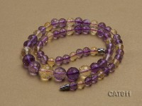 7-12mm Round Faceted Ametrine Beads Elasticated Necklace
