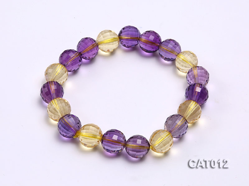 10mm Round Faceted Ametrine Beads Elasticated Bracelet