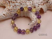 10mm Round Faceted Ametrine Beads Elasticated Bracelet