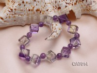 16mm Cuboidal Ametrine Beads Elasticated Bracelet