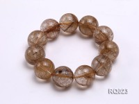 22mm Round Rutilated Quartz Beads Elasticated Bracelet