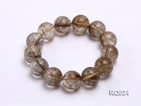 20mm Round Rutilated Quartz Beads Elasticated Bracelet