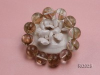 16mm Round Rutilated Quartz Beads Elasticated Bracelet