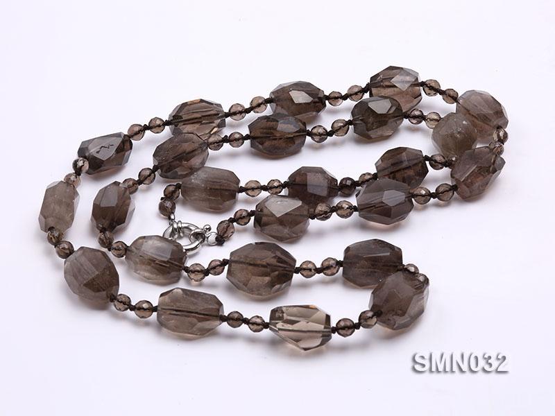 20x17mm Irregular Faceted Smoky Quartz Beads Necklace
