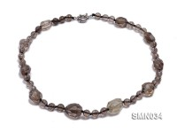 Irregular & Round Smoky Quartz Beads Necklace