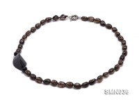 12x9mm Irregular Smoky Quartz Beads Necklace