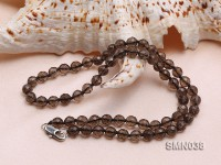 6mm Round Faceted Smoky Quartz Beads Necklace