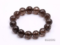 16mm Round Smoky Quartz Beads Elasticated Bracelet