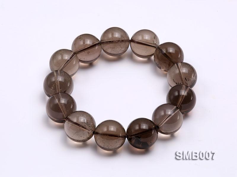 16mm Round Smoky Quartz Beads Elasticated Bracelet
