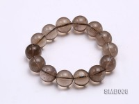 15mm Round Smoky Quartz Beads Elasticated Bracelet