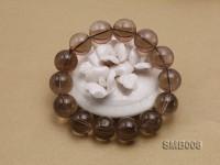 15mm Round Smoky Quartz Beads Elasticated Bracelet