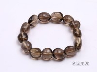 15x12mm Flat Smoky Quartz Beads Elasticated Bracelet