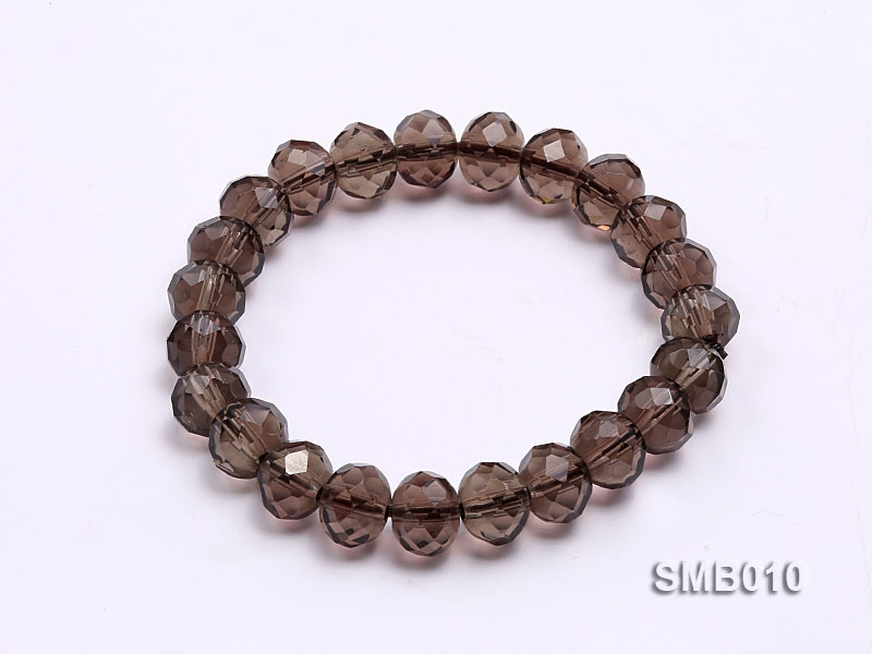 10x8mm Flat Faceted Smoky Quartz Beads Elasticated Bracelet