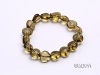 12x12mm Heart-shaped Smoky Quartz Beads Elastic Bracelet