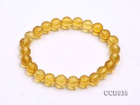 8mm Round Faceted Citrine Beads Elasticated Bracelet