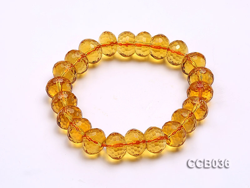 11.5x8mm Oval Faceted Citrine Beads Elasticated Bracelet