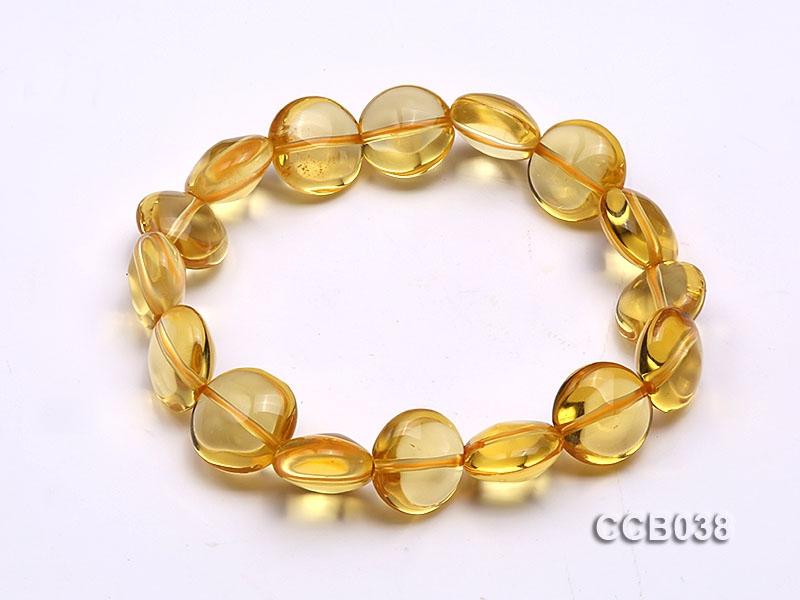 8×12.5mm Button-shaped Citrine Beads Elasticated Bracelet