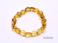 10x5mm Button-shaped Citrine Beads Elasticated Bracelet