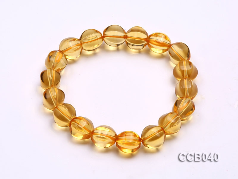 10.5x9mm Irregular Citrine Beads Elasticated Bracelet