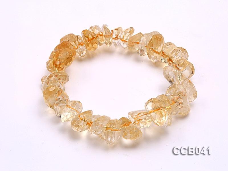 12x8mm Irregular Faceted Citrine Beads Elasticated Bracelet