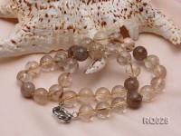 12.5mm Round Rutilated Quartz Beads Elasticated Necklace