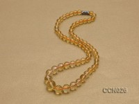 6.5-12mm Round Faceted Citrine Beads Necklace