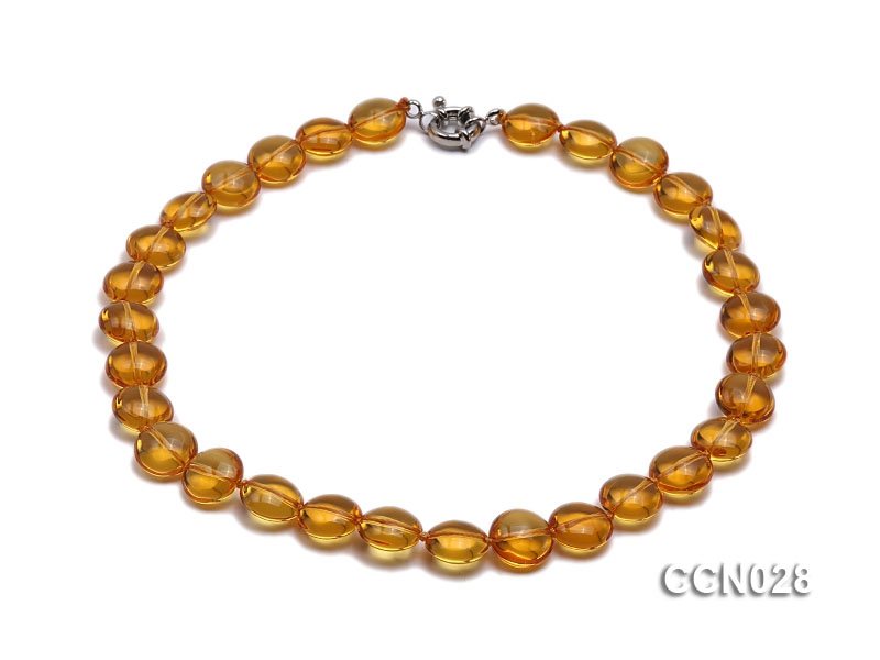 14x8mm Button-shaped Citrine Beads Necklace