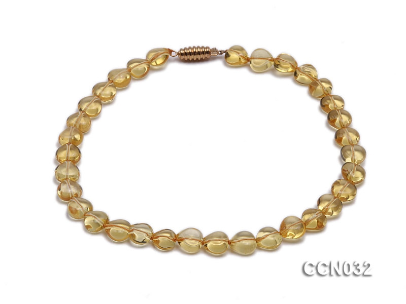 10x10x6mm Heart-shaped Citrine Beads Necklace