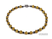 10x10mm Irregular Faceted Citrine Beads Necklace