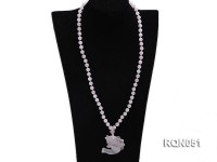 8mm Round Rose Quartz Beads Necklace with a Fish-shaped Rose Quartz Pendant