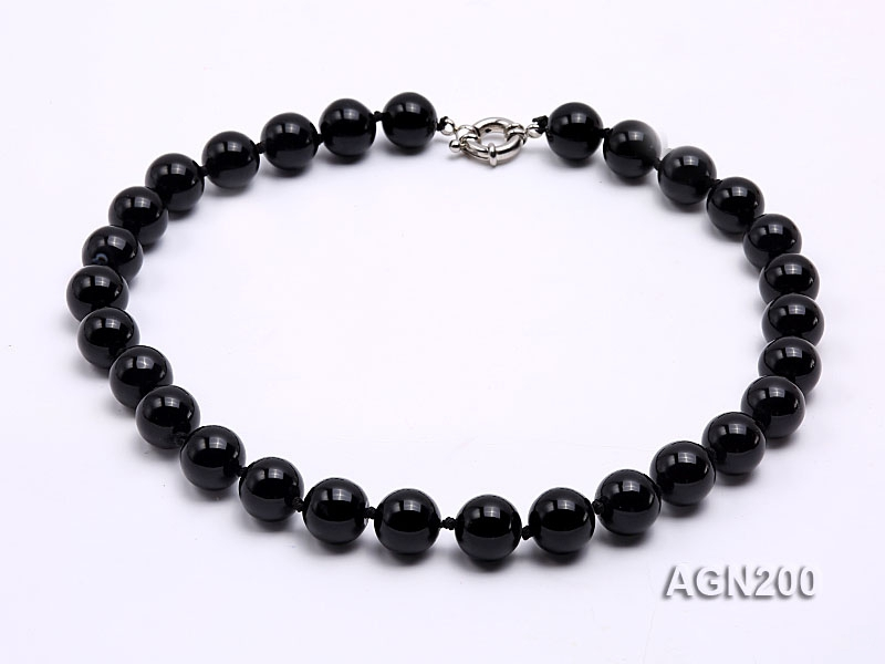 14.5mm Black Round Agate Necklace
