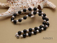 10mm Black Round Agate Necklace