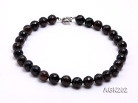 14.5mm Black Round Faceted Agate Necklace