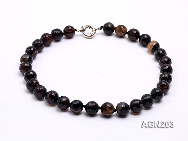 14mm Black Round Faceted Agate Necklace