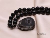 12mm Black Round Faceted Agate Necklace