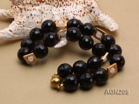 19.5mm Black Round Faceted Agate Necklace
