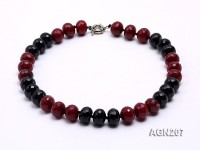 16x13mm Black & Red Faceted Agate Necklace