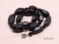 20×15-30x20mm Black Faceted Agate Necklace