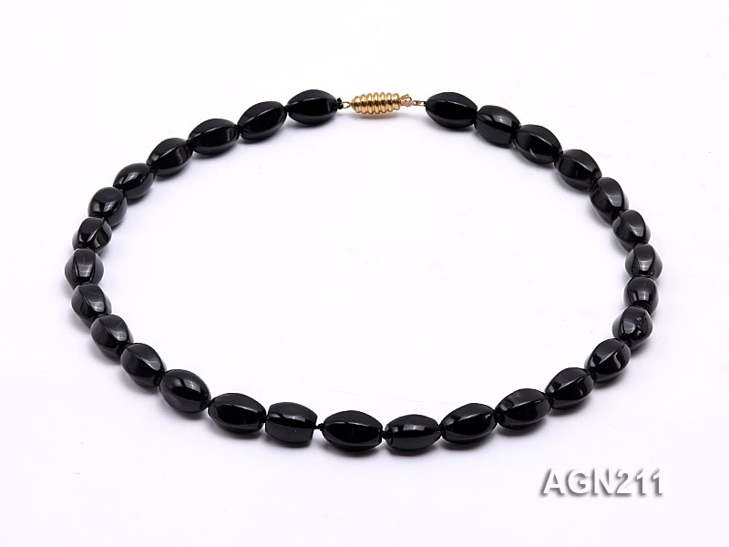 14×8.5mm Black Agate Necklace