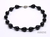 23x18mm Black Drop-shaped Faceted Agate Necklace