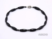 30x10mm Black Oval Faceted Agate Necklace