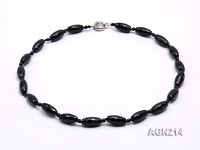 20×9.5mm Black Oval Faceted Agate Necklace