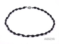 12.5x8mm Black Oval Faceted Agate Necklace