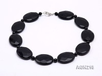 30x40mm Black Oval Faceted Agate Necklace
