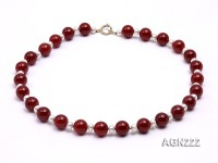 14.5mm Red Round Agate Necklace