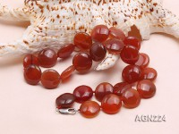 16.5mm Red Disc-shaped Agate Necklace